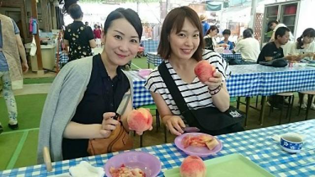 金桜園さん。桃試食